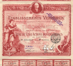 Etablissements Verminck  historic stocks - old certificates