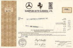 European Auto Classics, LTD -  historic stocks - old certificates Automobiles