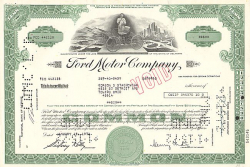 Ford Motor Company  historic stocks - old certificates