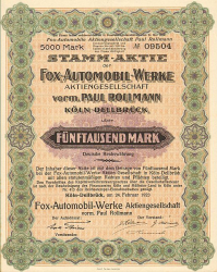 Fox-Automobil-Werke vorm. Paul Rollmann (nicht entwertet) -  historic stocks - old certificates Automobiles