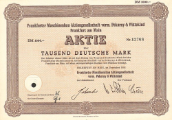 Frankfurter Maschinenbau AG vorm. Pokorny & Wittekind -  historic stocks - old certificates Engineering