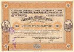 Galizische Karpathen-Petroleum Aktiengesellschaft (vormals Bergheim & Mac Garvey)  historic stocks - old certificates