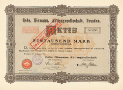 Gebr. Hörmann, Aktiengesellschaft, Dresden -  historic stocks - old certificates Food and Stimulants