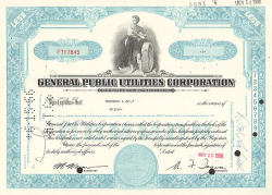 General Public Utilities Corporation -  historic stocks - old certificates Utilities and Power Grid
