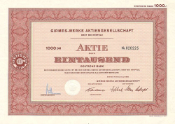 Girmes-Werke Aktiengesellschaft (1968) -  historic stocks - old certificates Textile Industry