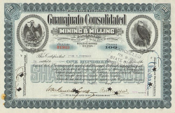 Guanajuato Consolidated Mining & Milling -  historic stocks - old certificates Mining