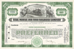Gulf Mobile and Ohio Railroad Company (100Shares) -  historic stocks - old certificates Railroads