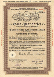 Hannoversche Landeskreditanstalt (1000er 1929) -  historic stocks - old certificates Banks and Insurance
