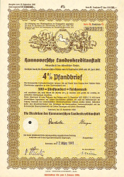 Hannoversche Landeskreditanstalt (500er 1940) -  historic stocks - old certificates Banks and Insurance