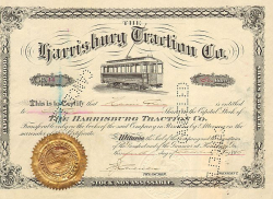 Harrisburg Traction Co. historische Wertpapiere - alte Aktien
