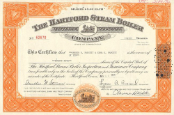 Hartford Steam Boiler Inspection (großer Rahmen) -  historic stocks - old certificates Railroads