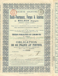 Hauts-Fourneaux, Forges & Aciéries de MALAGA (Espagne) -  historic stocks - old certificates Engineering