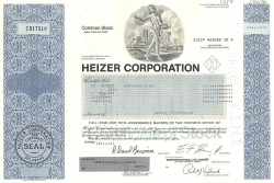 Heizer Corporation historic stocks - old certificates