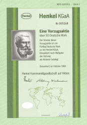 Henkel KGaA (50.-DM) -  historic stocks - old certificates Oil and Chemicals