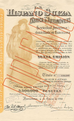 Hispano Suiza (Duplicado) -  historic stocks - old certificates Automobiles