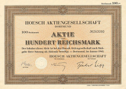 Hoesch 100 RM (Nicht entwertet) -  historic stocks - old certificates Mining