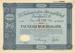 I.G. Farbenindustrie Aktiengesellschaft (1926 1000RM) (nicht entwertet) -  historic stocks - old certificates Oil and Chemicals