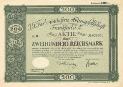 I.G. Farbenindustrie Aktiengesellschaft (1926 200RM) (nicht entwertet) -  historic stocks - old certificates Oil and Chemicals