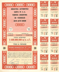 Industria Automotriz Santa Fe S.A. Fabrica Argentina de Vehiculos DKW Auto Union -  historic stocks - old certificates Automobiles