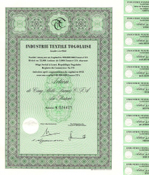 Industrie Textile Togolaise historic stocks - old certificates
