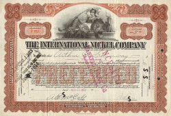 International Nickel Company of Canada, Limited (Kanada) -  historic stocks - old certificates Mining