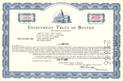 Investment Trust of Boston -  historic stocks - old certificates Banks and Insurance