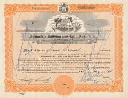 Invincible Building and Loan Association of Westwood, N. J. -  historic stocks - old certificates Hotels and Real Estate