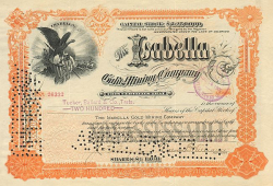 Isabella Gold Mining Company -  historic stocks - old certificates Mining