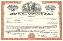 Jersey Central Power & Light Company -  historic stocks - old certificates Utilities and Power Grid