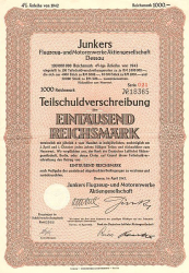 Junkers Flugzeug- und Moterenwerke (nicht entwertet) -  historic stocks - old certificates Airlines and Aviation
