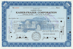 Kaiser-Frazer Corporation -  historic stocks - old certificates Automobiles