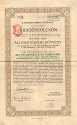 Königreich Ungarn Renten-Anleihe -  historic stocks - old certificates Cities and States