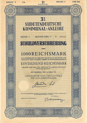 Landesbank und Girozentrale für das Sudetenland -  historic stocks - old certificates Cities and States