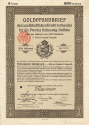 Landschaftlicher Kreditverband für die Provinz Schleswig-Holstein (1000er 1926) -  historic stocks - old certificates Cities and States
