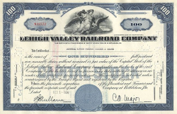 Lehigh Valley Railroad Company historic stocks - old certificates