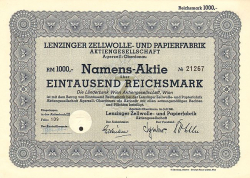 Lenzinger Zellwolle- und Papierfabrik Aktiengesellschaft Agerzell/Oberdonau (1941) -  historic stocks - old certificates Media and Film