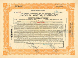 Lincoln Motor Company -  historic stocks - old certificates Automobiles