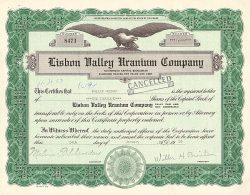 Lisbon Valley Uranium Company -  historic stocks - old certificates Mining