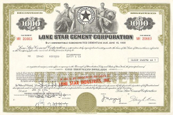 Lone Star Cement Corporation -  historic stocks - old certificates Hotels and Real Estate