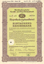 Mecklenburgische Kredit- und Hypothekenbank (1000er 1941) -  historic stocks - old certificates Banks and Insurance