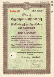 Mecklenburgische Hypotheken- und Wechselbank (100RM September 1938) -  historic stocks - old certificates Banks and Insurance