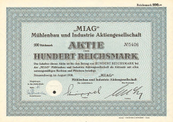 MIAG Mühlenbau und Industrie Aktiengesellschaft -  historic stocks - old certificates Engineering