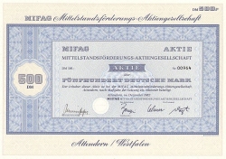 MIFAG Mittelstandsförderungs-Aktiengesellschaft (500.-DM) -  historic stocks - old certificates Others