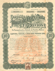 Minas de Oro y Plata LA PRECIOSA  historic stocks - old certificates