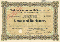 Nationale Automobil Gesellschaft (nicht entwertet) -  historic stocks - old certificates Automobiles