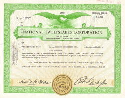 National Sweepstakes Corporation -  historic stocks - old certificates Others