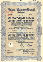 Neckar-Aktiengesellschaft (1700er 1935) -  historic stocks - old certificates Shipping
