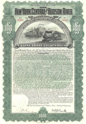 New York Central and Hudson River Railroad historic stocks - old certificates