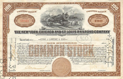New York, Chicago and St. Louis Railroad Company -  historic stocks - old certificates Railroads