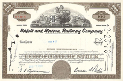 Norfolk and Western Railway Company -  historic stocks - old certificates Railroads